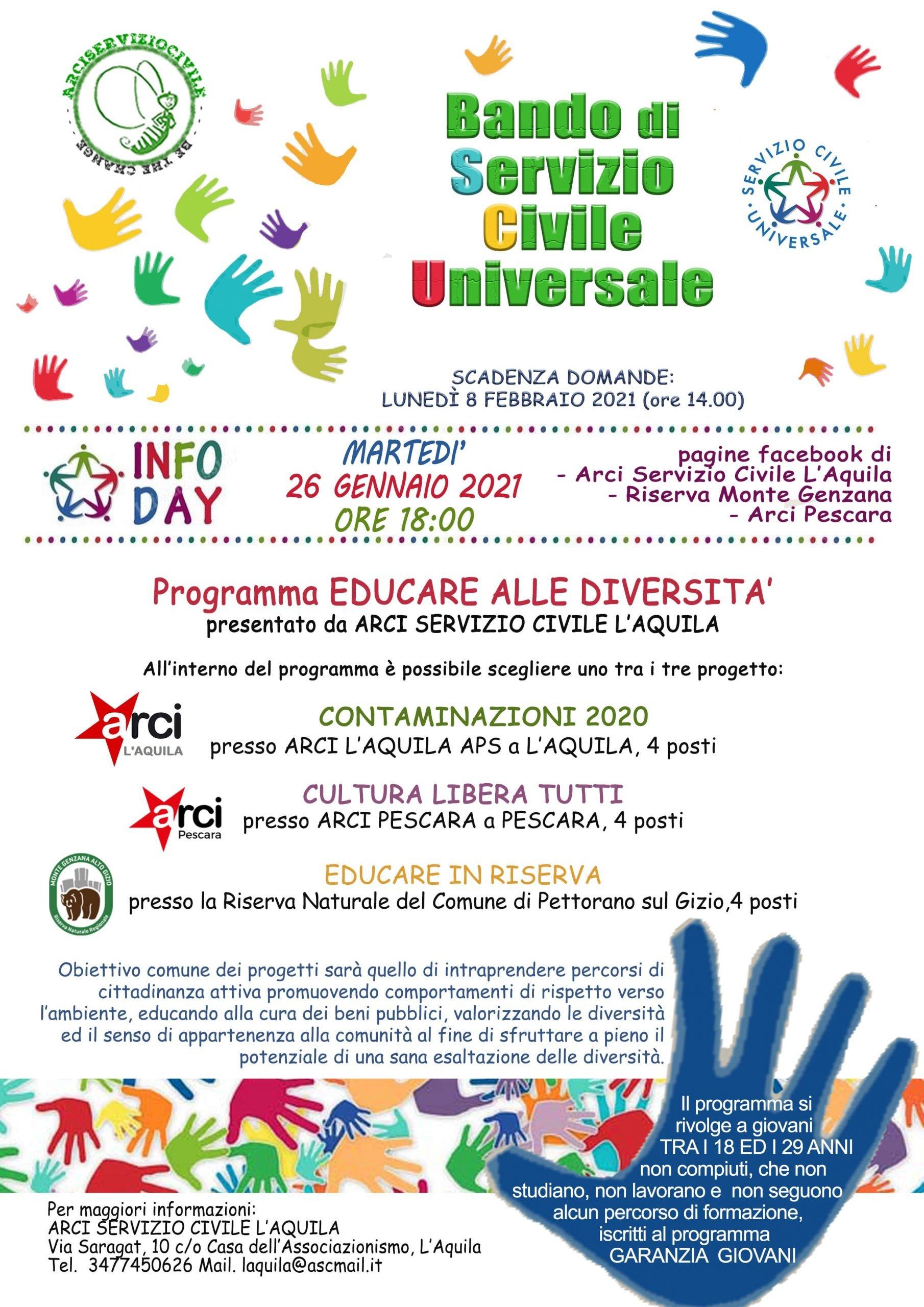 """Servizio Civile L'Aquila: pubblicato nuovo bando """"Educare alle diversità"""""""