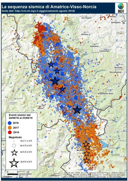 Sequenza sismica Amatrice Visso Norcia